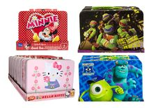 Assorted Character Lunch Boxes with Minnie Mouse, Hello Kitty, TMNT and Monsters University.