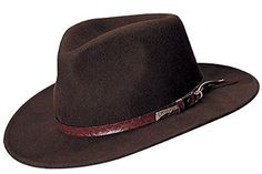 be4f53e73fa635 Indiana Jones Men's Water Repellent Wool Felt Outback, X-Large, Brown-555  at Amazon Men's Clothing store: