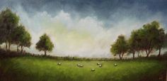 Field with Sheep, J Palmer Original oil painting Welsh Landscape Art