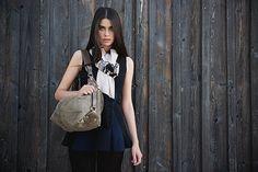 Handbag Paris full grain leather suede/ blackberry # 31