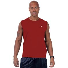 Big & Tall Champion Solid Muscle Tee ($18) ❤ liked on Polyvore featuring men's fashion, men's clothing, men's shirts, men's t-shirts, light red, mens cotton shirts, mens cotton t shirts, mens crew neck t shirts, mens patterned shirts and j crew mens shirts