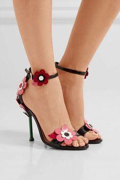 Prada - Floral-appliquéd Patent-leather Sandals - Black - IT39.5