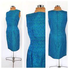SIZE Med-Lg Vintage 1960s Kelly Green Teal Silk Brocade Dress Floral Damask Sheath Cocktail Dress Prom Party Dress Mad Men 60s Tea Dress