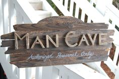 This was a custom order that I made for my friend Rachel – an old college friend. She wanted a man cave sign for her boyfriend, and liked the old beach wood I had been using for my other handmade wooden signs. We collaborated a lot on this project since it was so different …