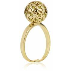 Sonal Bhaskaran - Svar Gold Sphere Ring Yellow CZ (£82) ❤ liked on Polyvore featuring jewelry, rings, gold ring, yellow cz ring, cz jewellery, yellow gold jewelry and cubic zirconia rings