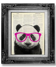 Buy get 1 FREE ! After purchasing 3 prints - pick 1 freebie and leave the full name of the print in the *Note to GoGoBookart* Box during checkout :) Hipster Kunst, Nerd Kunst, Hipster Decor, Hipster Art, Hipster Poster, Chat Origami, Miraculous, Panda Art, Panda Panda