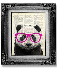 affiche panda lunettes rose fluo déco décoration accessoire chambre enfant bébé etsy Gogobookart