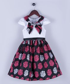 Look at this Black & Red Floral Knot-Neck A-Line Dress - Toddler & Girls on #zulily today!