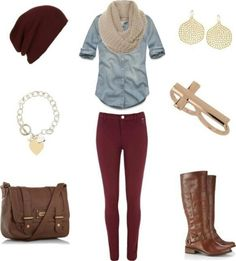 Stitch fix- like this Fall causal outfit. A burgundy skinny jeans, light chambray shirt, tan infinity scarf, brown knee boots, burgundy slouch beanie Cute Fall Outfits, Casual Winter Outfits, Casual Fall, Outfit Winter, Comfy Casual, Burgundy Skinny Jeans, Burgundy Leggings, Black Skinnies, Outfit Pantalon Vino