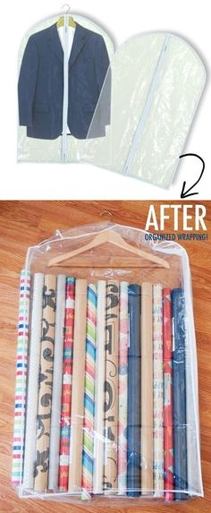 excellent storage ideas for your craft room Gift wrap storage hack in garment bags - Awesome DIY Craft Room Organization Ideas To Steal Right Now!Gift wrap storage hack in garment bags - Awesome DIY Craft Room Organization Ideas To Steal Right Now! Organisation Hacks, Storage Organization, Organizing Ideas, Organising Hacks, Gift Bag Storage, Organization Ideas For The Home, Bathroom Organization, Plastic Bag Storage, Wardrobe Organisation