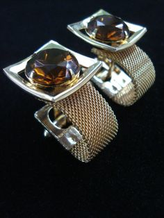 Vintage 1970s French Cufflinks Gold Mesh Wrap Around Cuff Links 201458