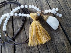 Long Ivory Agate Leather Necklace Mustard by PiscesAndFishes Friendship Necklaces, Dainty Necklace, Leather Necklace, Anniversary Rings, Hippie Chic, Agate, Mustard, Tassels, Best Gifts