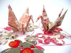 Guirlande + origami + liberty = <3  by #tandagramm sur #Dawanda