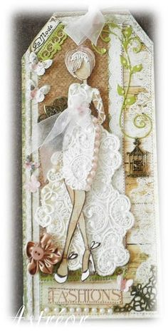 bride doll - Astréor créations - Timbre poupée prima glamour Love the elegant look of this with lace used - simply stunning. Prima Paper Dolls, Prima Doll Stamps, Card Tags, Gift Tags, Greeting Card, Doll Crafts, Paper Crafts, Dress Card, Handmade Tags