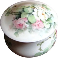 Antique GDA Limoges Porcelain Box Hand, Painted Roses! from faywrayantiques on Ruby Lane