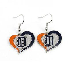 Detroit Tigers Heart Swirl Earrings At Campus Den