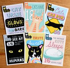 6 CAT FACT fine art quality single sided greeting by ByPortia, $12.00
