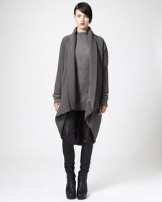 Draped Cocoon Coat, Ribbed Mock-Neck Sweater & Leather Biker Leggings by Rick Owens at Neiman Marcus. Rick Owens, Biker Leggings, Cocoon Dress, Clothing And Textile, Coats For Women, Mantel, Designer, My Style, Cocoon Coats