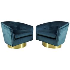Gorgeous Peacock Velvet Swivel Chairs With Polished Bronze Bases, 1970s