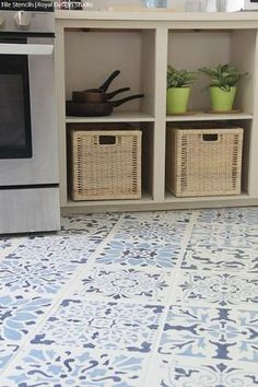 The Secret is Out! How to Stencil a Tile Floor in 10 Steps - Painting Over Kitchen Floor Tiles or Bathroom Floor Tiles with Royal Design Studio Floor Stencils Stenciled Tile Floor, Ceramic Floor Tiles, Bathroom Floor Tiles, Concrete Tiles, Porcelain Tile, Wall Tiles, Painting Tile Floors, Painted Floors, Stencil Painting