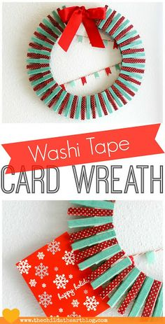 Washi Tape/Embroidery Hoop Holiday Card Wreath #Christmas #washi tape