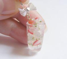 strawberry jewelry   Strawberry Cocktail Necklace Pendant - Miniature Food Jewelry