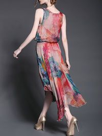 Asymmetrical Floral-print Silk-Blend Midi Dress