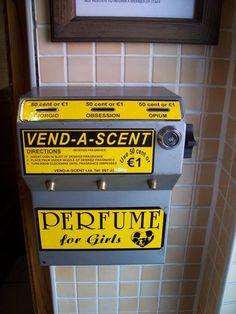 Dublin, Ireland.  Perfume vending machine (bar bathroom)
