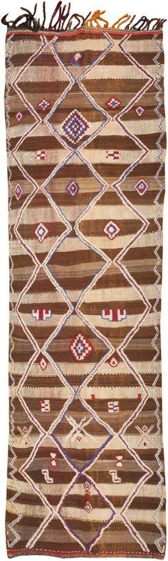 A Breathtaking Tribal Design Vintage Moroccan Runner Rug, Origin: Morocco, Circa: Mid-20th Century