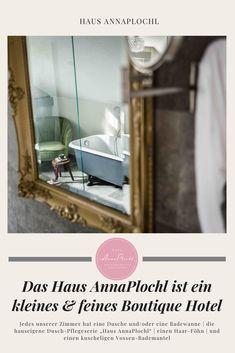 """Jedes unserer Zimmer hat eine Dusche und/oder eine Badewanne   die hauseigene Dusch-Pflegeserie """"Haus AnnaPlochl""""   einen Haar-Föhn   und einen kuscheligen Vossen-Bademantel #badezimmer #badeideen #dekoration #frühstück #frühstücksideen #frühstücksbuffet #frühstückgesund #zimmer #boutiquehotel #ideas #house #guesthouse #annaplochl #badaussee #visitaussee #ausseerland #reisen #bedandbreakfast Bed & Breakfast, Bathroom Medicine Cabinet, Bath Tube, Full Bath, Small Hotels, Bathing, Viajes, Dekoration"""