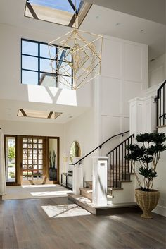 Farrow and Ball All White Foyer Two story foyer with skylight and grid board and. - interior design creative Farrow and Ball All White Foyer Two story foyer with skylight and grid board and… - Home Decoraiton Style At Home, Modern Style Homes, Interior Design Minimalist, Sweet Home, Two Story Foyer, California Homes, Minimalist Living, House Goals, Natural Home Decor