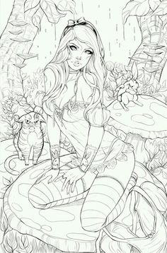 Elite Alice BW by ToolKitten Deviantart Fairy Coloring Pages, Adult Coloring Book Pages, Coloring Pages To Print, Coloring Books, Character Art, Character Design, Colorful Drawings, Erotic Art, Sketches