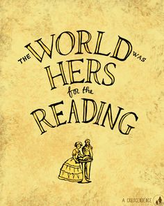 'The world was hers for the reading.' From the book 'A Tree Grows in Brooklyn' by Betty Smith. #quote Lettering and illustration by ACrescendence.