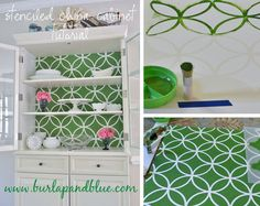 "How to use foam core board and wall stencils to ""upscale"" a painted hutch"