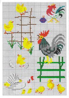ru / Фото - Permin - logopedi roosters and chicks Cross Stitch Numbers, Just Cross Stitch, Cross Stitch Animals, Cross Stitching, Cross Stitch Embroidery, Embroidery Patterns, Cross Stitch Designs, Cross Stitch Patterns, Cross Stitch Kitchen