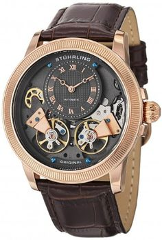 Stuhrling Original 368B.3345K54 Symphony Aristocrat Gemini II Automatic Skeleton Watch For Men