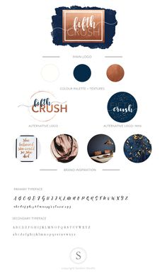 Rose Gold Navy | Logo | Blogger, Fashion, Hair Stylist  https://www.etsy.com/listing/501265442/rose-gold-logo-kit-navy-copper-logo