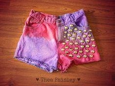 Pink and Purple Denim Dip Dye high waisted  Shorts/ Pastel Goth shorts/studded shorts/tumblr shorts/ high waisted shorts/ hipster shorts