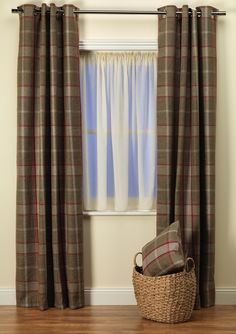 Highland Check Red & Brown Curtains