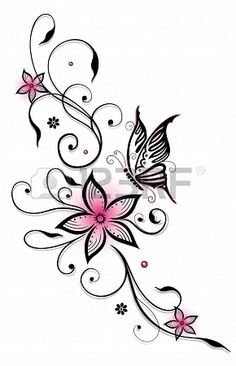 Pink and black flowers with butterfly, summer time