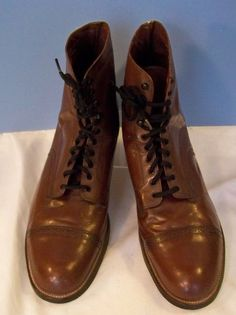 Vintage Stacy Adams Brown Leather Madison Cap Toe Dress Boot 13D #StacyAdams #AnkleBoots