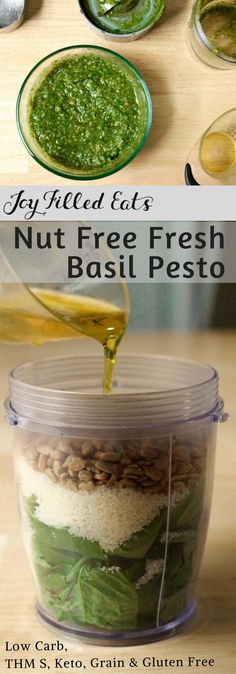 Fresh Basil Pesto - Four Ingredients, Nut Free, Low Carb, THM S - There is nothing better than whipping up a quick batch of fresh basil pesto. With four ingredients my low carb nut free pesto is ready in 5 minutes.