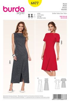 solid color fabrics which do not detract from the elaborate finished seam lines, assuring the perfect fit. two distinctive dresses, with a unique charm of their own, that you will love to wear