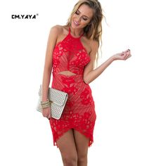 CMYAYA 2016 New Women Sexy Summer Red Sleeveless Off the Shoulder O-Neck Backless Midriff Asymmetrical Lace Bodycon Mini Dresses at our web shop http://www.aliexpress.com/store/536244