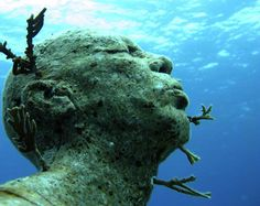 Under Water Sculpture Park, Grenada Underwater Sculpture, Underwater Art, Lion Sculpture, Underwater Museum Mexico, Jason Decaires Taylor, Installation Street Art, Man On Fire, Nature Water, Under The Sea