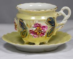 Antique Galluba & Hoffman Bavarian Floral Footed Tea Cup And Saucer C. 1905