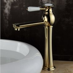 New Arrivals High Brass Gold Plated Basin Faucet Mixer Water Tap Single Hole Bathroom Faucet Gold Faucet torneira para banheiro #Affiliate