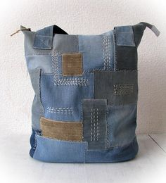 wabi sabi recycled denim bag, jeans tote shopping boro bag, zippered patchwork jean handbag, old jean recycling hobo bag, jean patchwork bag A handmade denim patchwork bag. This really cute and very functional bag was made of jeans... This handmade bag has pockets inside. It is useful