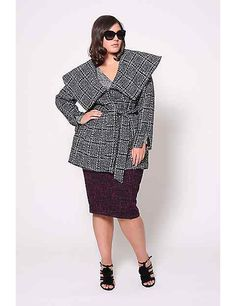 Boucle Plaid Wrap Coat by Christian Siriano | Lane Bryant