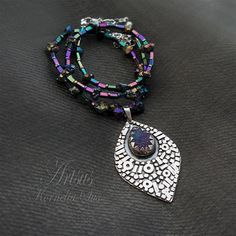 STAR FEATHER - silver necklace with druzy agate, pyrite and hematite